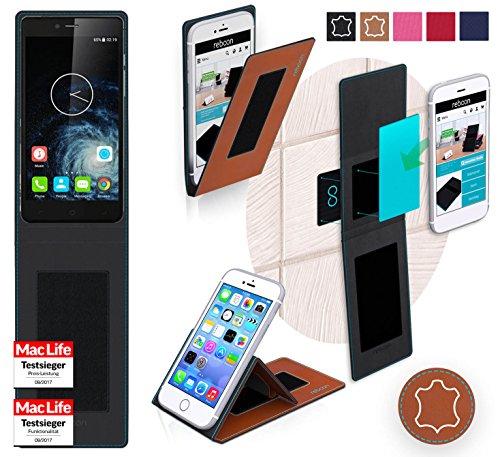reboon Hülle für Elephone S2 Plus Tasche Cover Case Bumper   Braun Leder   Testsieger