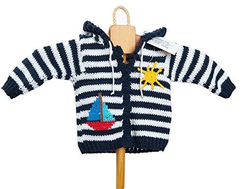 adonia mode Handgestrickte Jungen Mädchen Bilderbuch Strickjacke Jacke mit Kapuze Segelschiff Maritim Gr. 50/56 Mod. 1-23 (Kapuzen-jacke 1)