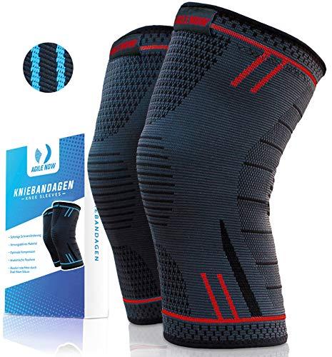 Agile Now Kniebandage [2er Set ] [M - XL] Premium inkl. Ultimativer Ratgeber E-Book die Kniebandage Männer Sport & Kniebandage Damen für alle Sportarten | Kniebandage meniskus | Knee Pads L