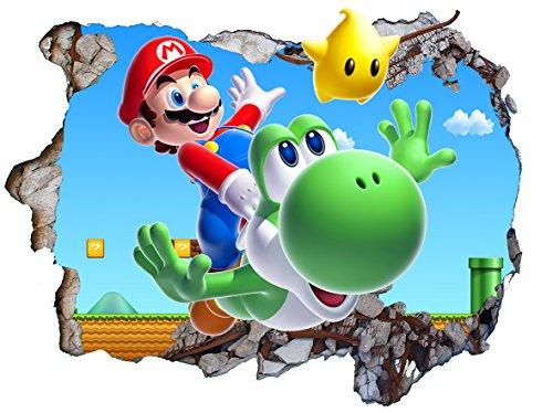 Chicbanners Super Mario Brothers V202 3D-Wandaufkleber, selbstklebend, Größe 1000 mm breit x 600 mm tief