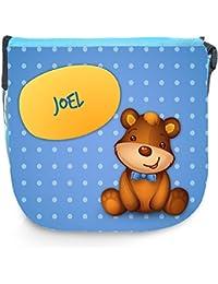 3763aec421bd82 Umhängetasche für Kinder mit Namen Joel und schönem Motiv mit Bär