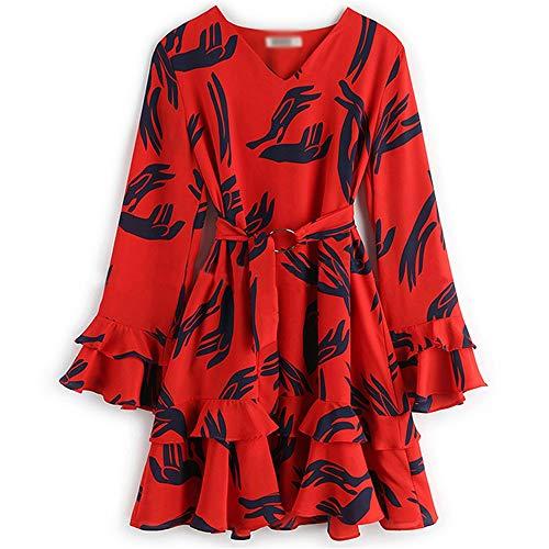 ZYKJElegantes europäisches und amerikanisches Kleid mit Lotus -Blattrand und V -Hals -Bell Sleeve Printed Kleid,Farbe des Bildes,L -