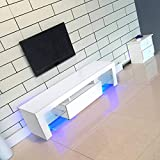 Mueble de TV Moderno 130 cm Blanco Armario Soporte y Tira LED Luces de Control Remoto