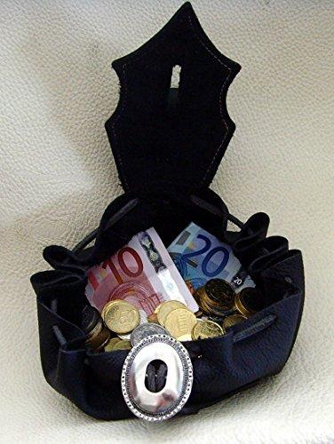 Lederbeutel Dukatenbeutel Geldkatze Farbe schwarz – schwarz - 3
