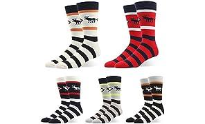 RIORIVA chaussettes d'affaire de business classique formel en coton peigné pour homme à motifs géométriques colorés grande taille avec boîte