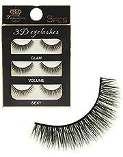 Preyansh Pack 3 Pairs Black Handmade Natural 3D Thick Long False Eyelashes