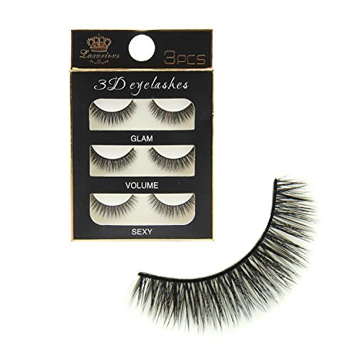 TECHICON Pack 3 Pairs Black Handmade Natural 3D Thick Long False Eyelashes