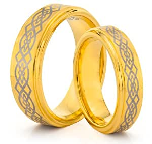 His & Her's 8MM/6MM Tungsten Carbide Gold Wedding Band Ring Set w/Laser Etched Celtic Design (Available Sizes H - Z+2) EMAIL US WITH YOUR SIZES