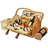 Picknickkorb aus Yorkshire Willow mit Service für 4 Personen mit Decke - London Plaid 4 Person Weide mit Santa Cruz Teller/Servietten