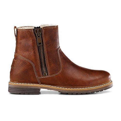 Cox Damen Damen Winter-Boots aus Leder, Stiefeletten in Braun mit warmen Teddyfell gefüttert braun Glattleder 39