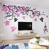 JWQT Warme Blume Weinstock, Acryl, 3D, dreidimensional, Wohnzimmer, TV Hintergrund Mauer, Schlafzimmer mit Bett, kreative Dekoration, Schwarz in die linke Richtung pink, Übergröße