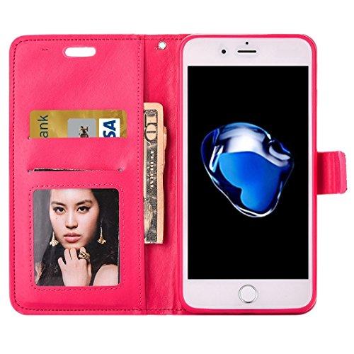 Hülle für iPhone 7 plus , Schutzhülle Für iPhone 7 Plus Jelly Drill Horizontal Flip Leder Schutzhülle mit Halter & Card Slot & Wallet & Photo Frame ,hülle für iPhone 7 plus , case for iphone 7 plus (  Pink