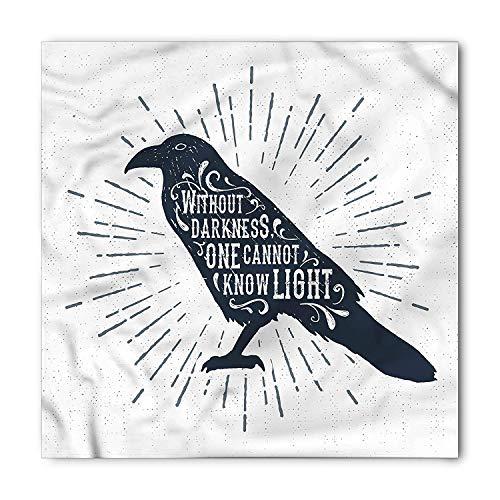 LULABE Raven Bandana, Quote Gothic Symbol of Wisdom, Unisex Head and Neck Tie,Unisex Bandana Head and Neck Tie Neckerchief Headdress Silk-Like 100% Polyester(size:S) -