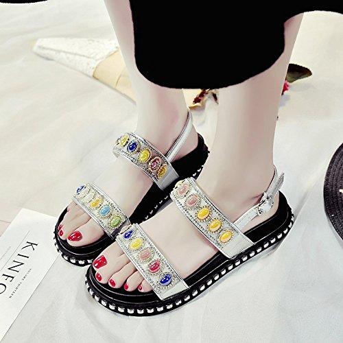 RUGAI-UE Donne sandali estivi Chunky suole Silvery