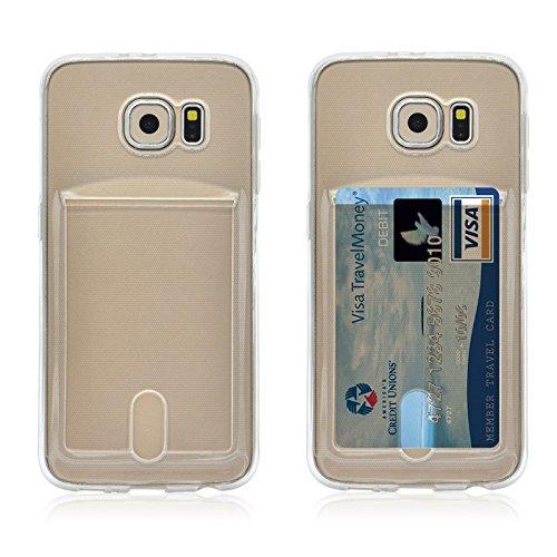 Wkae Case Cover Für Samsung Galaxy S6 Rand / G925 Ultradünner TPU Fall mit Karten-Slot ( Color : Green ) Transparent