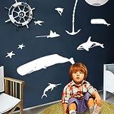 Ozean Wandaufkleber Kinderzimmer Dekoration Aufkleber Bad Wasserdicht Aufkleber Badezimmer Unterwasserwelt Wandaufkleber Malerei 248 * 161 cm Weiß