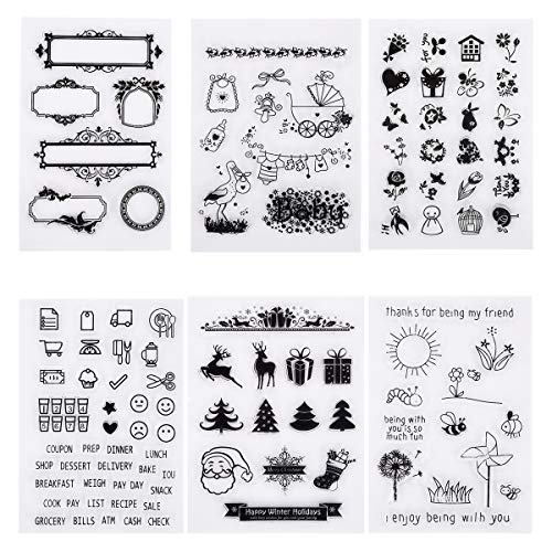 nstempel Set DIY Silikon Klar Stempel Blatt 107 Motive Transparent Stamps für Scrapbooking Album Foto Crafts Making Weihnachten Thanksgiving Geschenke ()