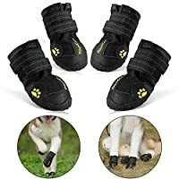 RoyalCare Protective Dog Boots, Set of 4 Waterproof Soft Dog Shoes for Medium and Large Dogs - Black