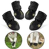 RoyalCare Wasserdichte Hundeschuhe, Wasserdicht mit anti-rutsch Sole passend für mittlere und große Hunde, 4-er schwarz 7#