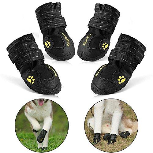 RoyalCare Zapatos Perro, Impermeable Zapatos Perro para Mediano y Grandes Perros - Negro (4#)