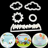 Timetries 5PCS Grassland Clouds Sun Fondant Mould Cookie Cutter Stamp Plastic Mold Cake Decor Cake Modeling Tools