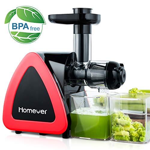 Entsafter Slow Juicer, Homever Entsafter Gemüse und Obst, Kauen entsafter mit Ruhiger Motor und Umkehrfunktion, Saftauffangbehälter und Reinigungsbürste, BPA-frei