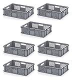 7x Bäckerkiste Cateringbox 60 x 40 x 15 durchbrochen inkl. gratis Zollstock 7er Set