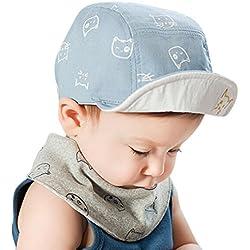 QinMM Sombrero y Gorra de Gato Lindo de Las niñas y niños bebé, Gorra de Sol de béisbol de Verano (Azul)