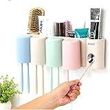 Everyfit Zahnbürste und Zahnpasta Halter, Automatische Squeeze Zahnpasta Zahn Bürste Sucker Rack mit 4Tassen Anti-Staub Wand montiert Aufhängung Zahnbürste Aufbewahrung Set