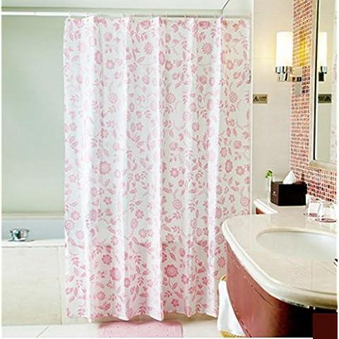 GYMNLJY Rosa poliestere impermeabile tenda della doccia ispessimento Bagno Doccia cortina di Bagno Decorazione tagliato tenda d'attaccatura 180 *