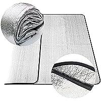 Impermeable (200* 200cm, Plata) tiendas de campaña de aluminio plegable doble cara Prueba de Humedad colchoneta alfombrilla para aislante de Picnic al aire libre Camping cojín alfombrilla de playa