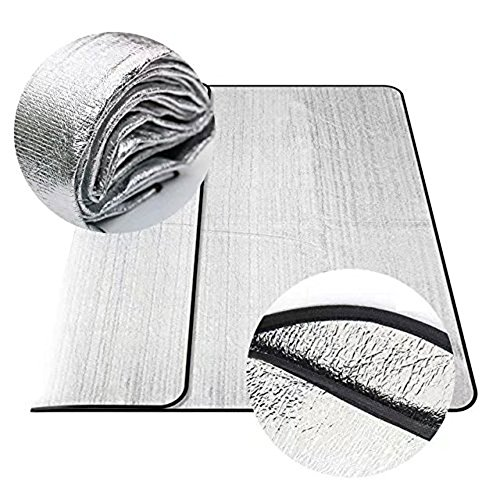Toryer Wasserdicht (200 * 200 cm, silber) zusammenklappbar, doppelseitig Aluminium Zelte Feuchtigkeit Proof Isomatte Picknick Pad Sleeping Pad Outdoor Camping Kissen Strandmatte