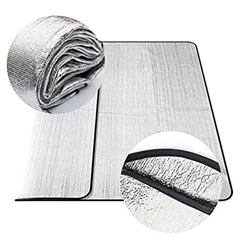 Toryercxj Wasserdicht (200 * 200 cm, silber) zusammenklappbar, doppelseitig Aluminium Zelte Feuchtigkeit Proof Isomatte Picknick Pad Sleeping Pad Outdoor Camping Kissen Strandmatte