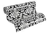 Thomas papier peint intissé papier peint néobaroque glamoureux classique 3D 10,05 m x 0,53 m blanc noir fabriqué en Allemagne