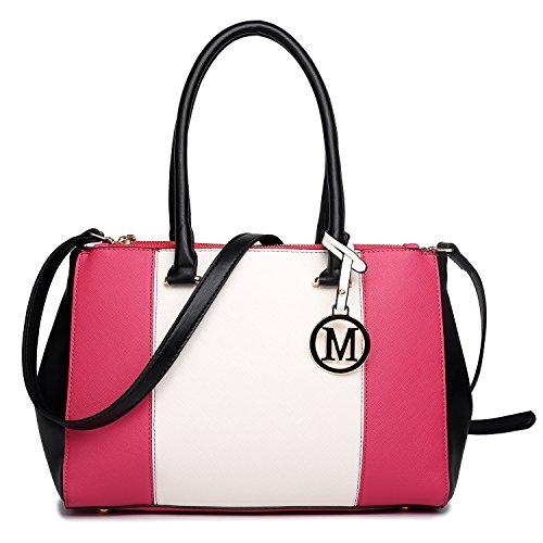 Miss Lulu Damen Umhängetaschen tote PU Handtaschen V Patchwork Reißverschluss Stil mit zwei Innen Offene Taschen und eine lange Gurt pflaume