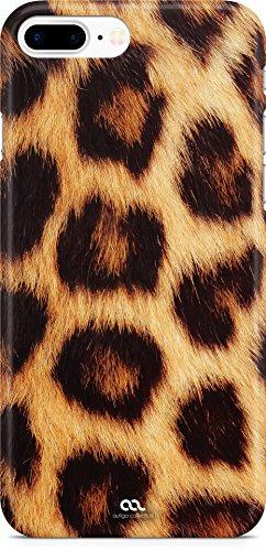 Autiga iPhone 8 Plus Hülle Leopardenfell Tierfell Leopardenfell Tiermuster Fell Muster Leoparden-Muster Handyhülle Handy Case Hardcover Schutzhülle Hardcase Moonworks® weiß