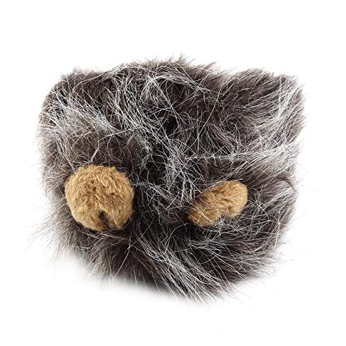 Pet Costume Lion Mane Wig for Cat Halloween Christmas Party Dress Up With Ear Dark grey M