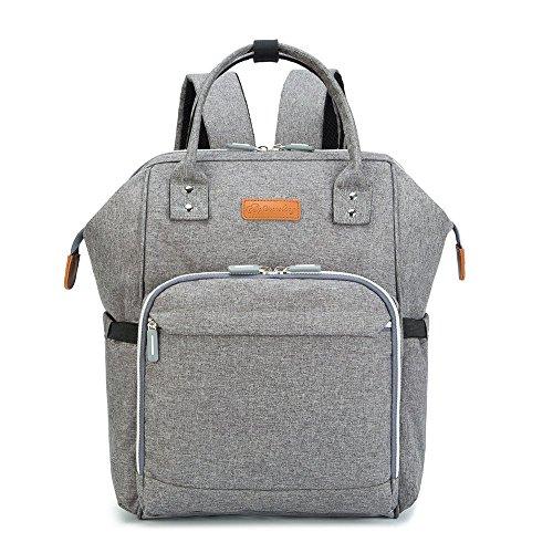 Preisvergleich Produktbild Multifunktionaler Wickeltaschenrucksack mit 11 Taschen, Großraum-Babytasche, Wasserdichte Wickeltasche Inklusive Kinderwagengurte, Wickelauflage (grau)