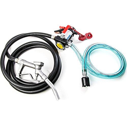 Kraftstoff Volt Transfer-pump 12 (12V Fuel Transfer Pumpe 10GMP W/Saugschlauch und Kraftstoff Pumpe Düse–Dieselkraftstoff, Biodiesel, Kerosin, leichte Kraftstoff Öle)