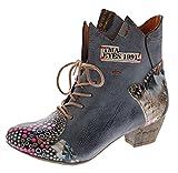 TMA Damen Stiefeletten echt Leder Stiefel Muster variieren Comfort Schuhe 7707 Boots Schwarz Gr. 40