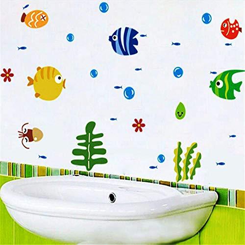 ELGDX Wandaufkleber schöne Tropische Cartoon Fisch Meer Blase Ozean Welt abnehmbare Aufkleber waschraum Baby raumdekoration -