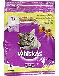 Whiskas Katzenfutter Trockenfutter Adult für Katzen ab 1 Jahre mit Huhn, 800 g