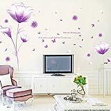 Ufengke® Schön Lila Blumen Wandabziehbilder,Wohnzimmer Schlafzimmer Entfernbare Wandtattoos Wandbilder