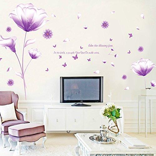 Ufengke® Schön Lila Blumen Wandabziehbilder,Wohnzimmer Schlafzimmer Entfernbare Wandtattoos Wandbilder -