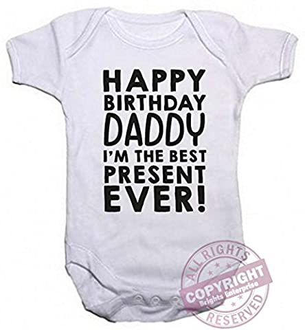 A Unisex Baby Grow With the wording Happy Birthday Daddy, I'm the Best Present ever! (231) from our Baby Clothing range. A unique Birthday , Christening or Christmas stocking filler gift idea for new babies bodysuit , Onesie (0-3 months)