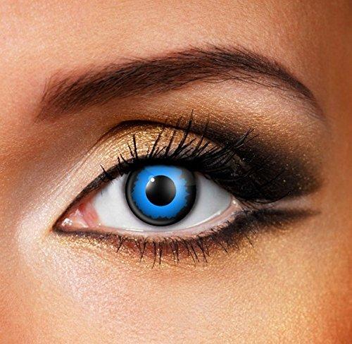Funky Vision Kontaktlinsen - 3 Monatslinsen, Blue Manga, Ohne Sehstärke, 1 Stück