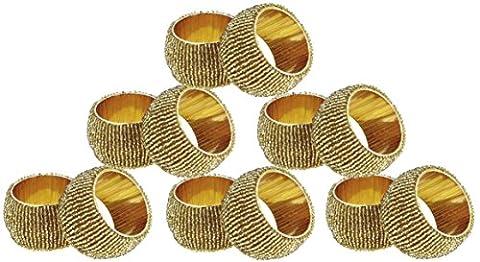 Serviette Ringe Vintage-Halter handgefertigte Design viel von 12 Glas Perlen golden retro Kunst Dekor - 6,4