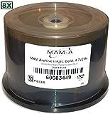 4.7 GB MAM-A Mitsui Gold Inkjet Hub Printable GOLD 8X DVD-R s 50-Pak in Cakebox