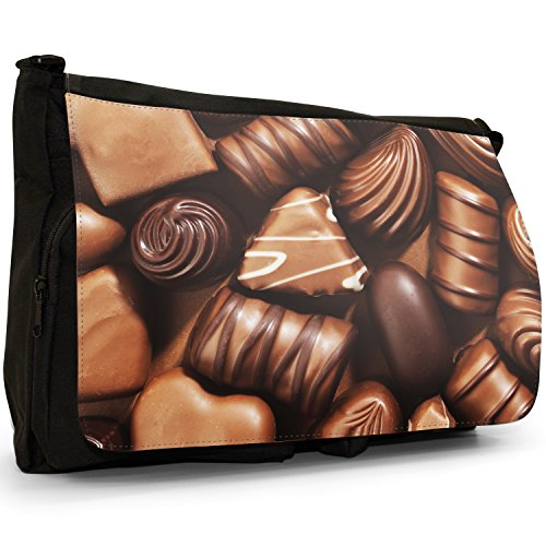 Fancy A Bag Borsa Messenger nero Jelly Fruit Tot Sweets Candy Delicious Chocolate Swirls Praline Fudge