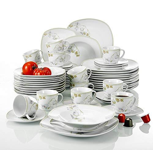 Veweet EMILY 60pcs Service de Table Porcelaine 12pcs Assiette Plate, Assiette à Dessert, Assiette Creuse, Tasse avec Soucoupes pour 12 Personnes Vaisselles Céramique Design Fleuri